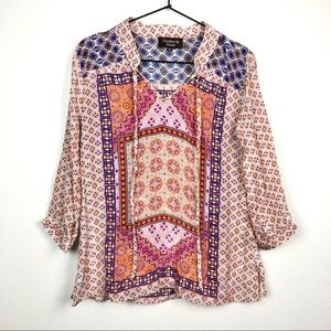 Feathers by Tolani Printed Blouse 3/4 Sleeve Top
